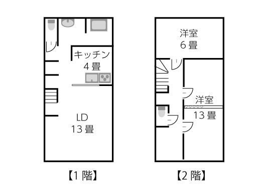 建坪14坪2階建ての家の間取り