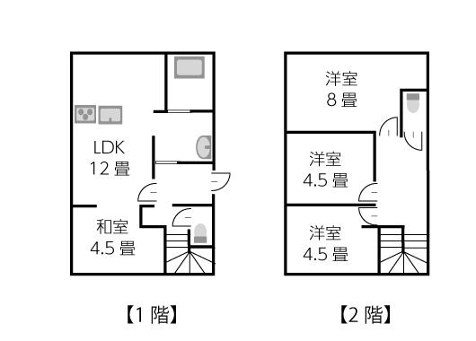 建坪15坪2階建ての家の間取り