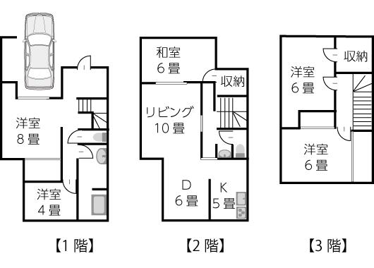 建坪21坪ビルトインガレージ付き3階建て住宅