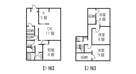 建坪27坪2階建て4LDKの住宅