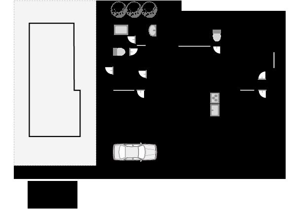 敷地面積90平米、建築面積54平米の間取りプラン例