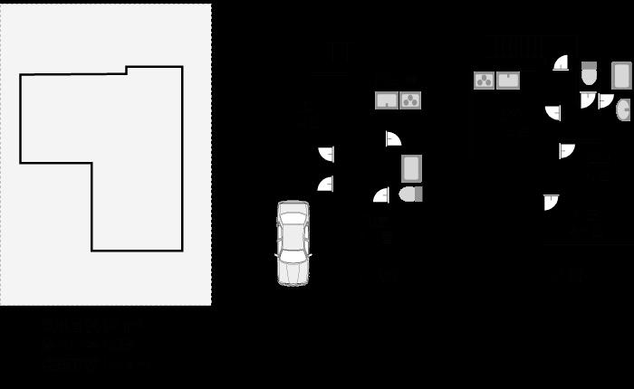 敷地面積94平米、建築面積56.4平米の間取りプラン例